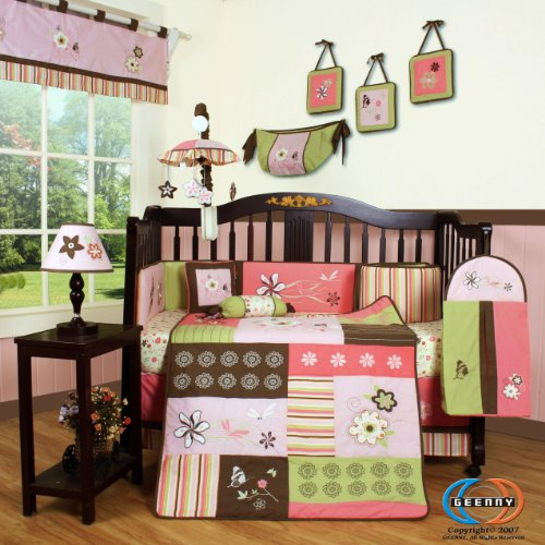 Floral Musical Crib (GEENNY Boutique 13 Piece Crib Bedding Set, Floral Dream)