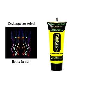 Tube Creme phosphorescent JAUNE - brille la nuit - fluo