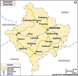 Amazoncom Kosovo Highway Map Laminated 36 W x 3523 H
