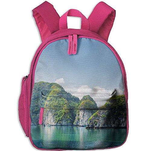 Children's School Bag Beautiful Azure Water Of Lagoon In The Halong Bay Descending Dragon Bay At Shoulder Bag Pink