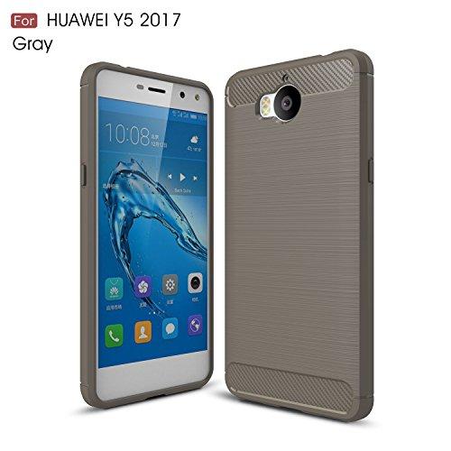 Funda Para Huawei Nova Young / Y6 2017, Sunrive Silicona Funda Slim Fit Gel Carcasa Case Bumper de Impactos y Anti-Arañazos Espalda Cover(Fibra de carbono negro) + 1 x Lápiz óptico Fibra de carbono gris
