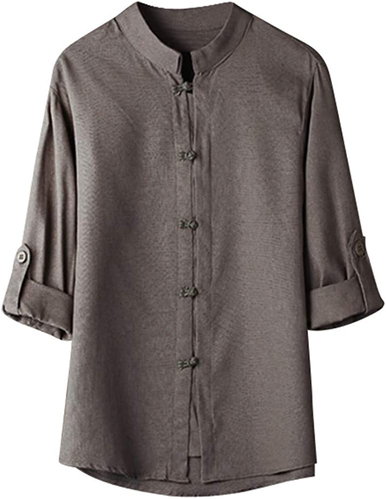 Mens Vintage Chinese Style Kung Fu Shirts Tops 3//4 Sleeve Linen Summer Tang Suit