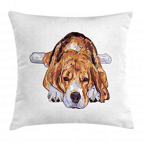 """Ambesonne Beagle Throw Pillow Cushion Cover, Old Dog Resting Sleeping Tired Puppy Short Haired Purebred Sketch Art, Decorative Square Accent Pillow Case, 16"""" X 16"""", Blue White"""