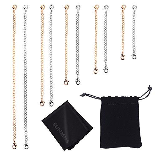 Sunmns Slender Stainless Steel Necklace Bracelet Extender Chain Set, 10 Pieces (Silvery, Golden)