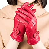 Women Winter Warm Leather Gloves Driving Mittens Hand Warmer with Fleece Lining