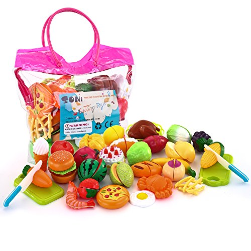SONi 32PCS Cutting Toys Pretend Food Fruits Vegetable Playset Educational Learning Toy Kitchen Play Boy Girl Kid with Handbag Packing