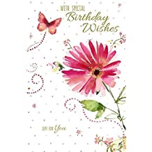 Birthday Wishes Single Pink Flower and Butterfly New Greeting Card