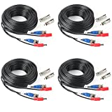 4Pack 33Feet BNC Vedio Power Cable Pre-Made Al-in-One Camera Video BNC Cable Wire Cord for Surveillance CCTV Security System With Connectors(BNC Female and BNC to RCA)