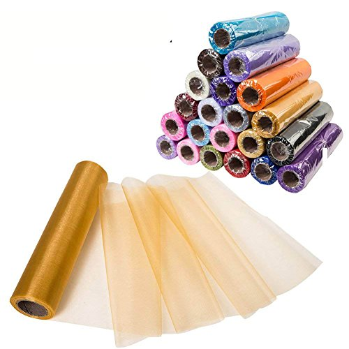 Sheer Organza Fabric - Meijuner 29CM X 25M Organza Roll Sashes Fabric Table Runner Chair Sashes Bow Swag Sheer DIY Fabric for Party Event Wedding Decoration (Gold)