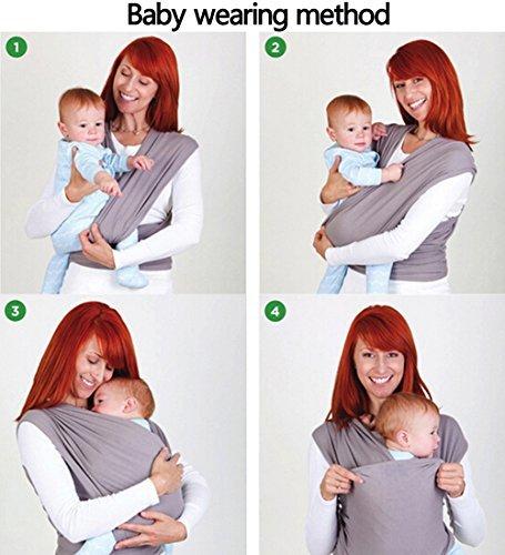 Ostenx Echarpe de Portage Pour Transporter le B/éb/é,Sac /à dos Porte B/éb/é CuddleBug pour Enfant Nouveau-n/é Gris