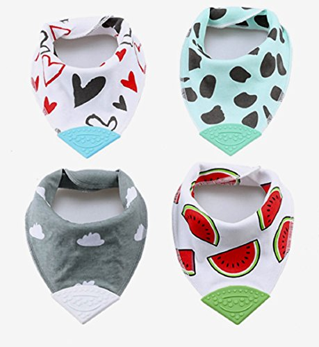 Price comparison product image Teether Bibs - 100% Organic Cotton and Fleece,  Soft and Absorbent - with Teether Attached - for Infants and Toddlers - for Teething and Drooling (Pack of 4)