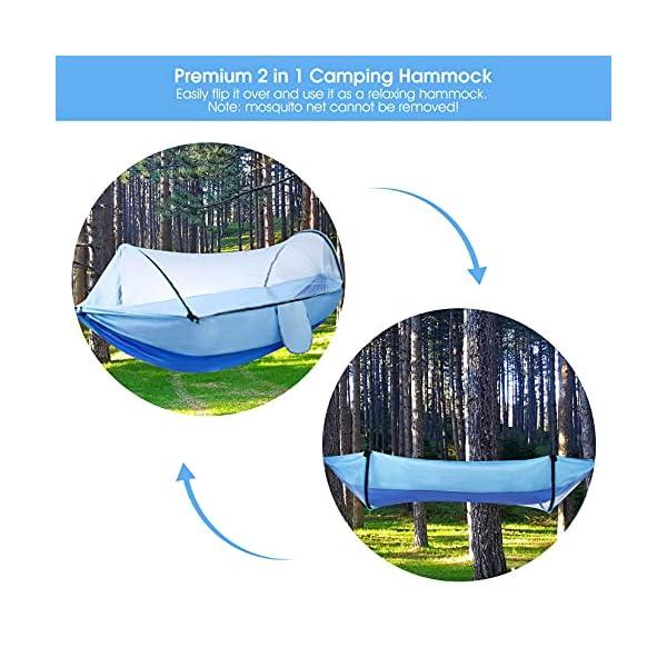 519cGt4WW6S Camping Hängematte mit Moskitonetz, Hängematten mit Baum-Riemen Karabiner, Outdoor Tragbare Hängematte Männer Frauen…