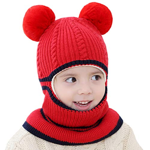 Red Monkey Caps (Kids Winter Hat, Baby Knit Hat, Baby Girls Boys Winter Hat, Thick Scarf Earflap Hood Scarves Skull Caps, 1-4 Years (Bear)