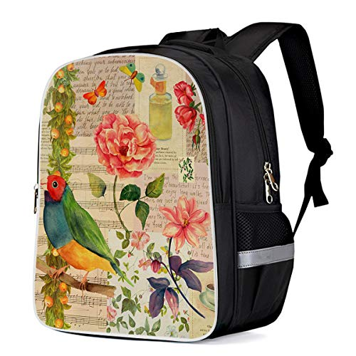 Vintage Flowers and Bird Classical Travel Backpack for School Students Boys/Girls Water Resistant Rucksack Bag, Stamp Musical Note Postcard Custom Printing Bookbag