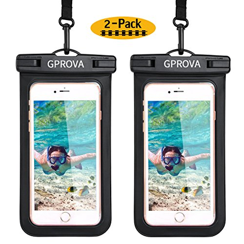 Waterproof case, GPROVA Waterproof Cellphone Pouch Dry Bag for Apple iPhone X 7 8 6S Smartphone Samsung Galaxy S8 S7 S6 Edge LG G6 Huawei Google Pixel 2 Moto HTC Sony up to 6 inches (Black+Black) ()