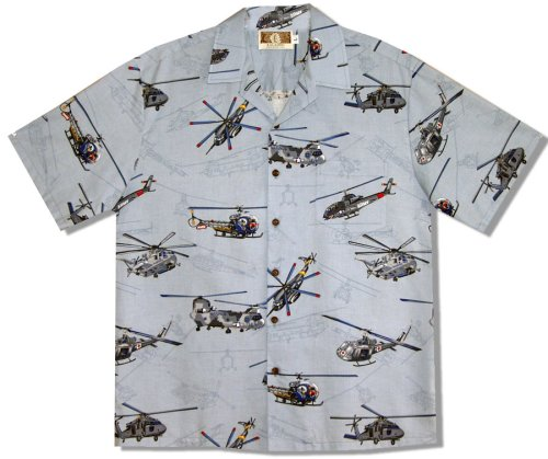 [Helicopters Men's Hawaiian Aloha Shirt in Blue - Small] (Blue Hawaiian Helicopters)