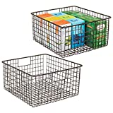 mDesign Household Wire Storage Organizer Bin Basket with Built-In Handles for Kitchen Cabinets, Pantry, Closets, Bedrooms, Bathrooms � 12'' x 12'' x 6'', Pack of 2, Bronze