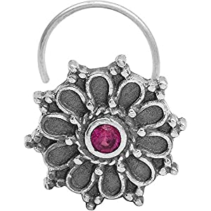 monde éblouissant Multi-Colour CZ Gemstone 925 Sterling Silver Flower Classic Design Oxidized Nose Pin for Women and Girls