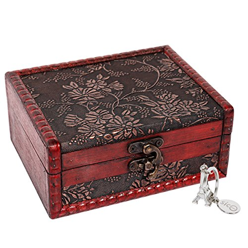SiCoHome Treasure Box 5.46 inch Treasure Chest for Gift Box,Cards Collection,Gifts and Home (Chest Card Box)