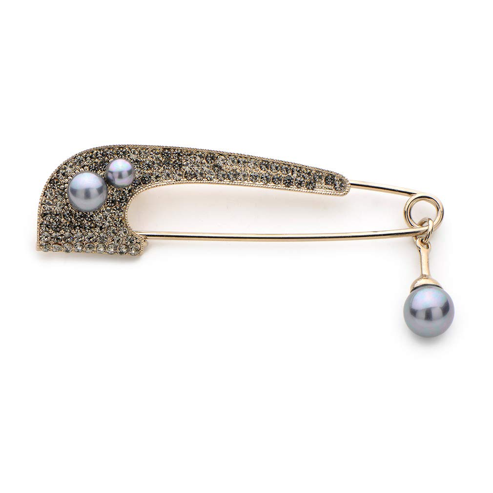 WULI & BABY Full Rhinestone Long Brooch Simulated Pearl Big Pin Scarf Buckle Gift