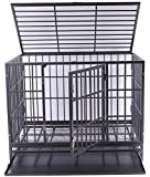 42'' Haige Pet Heavy Duty Large Dog Cage Metal Pet Crate Kenel with Tray and Wheels