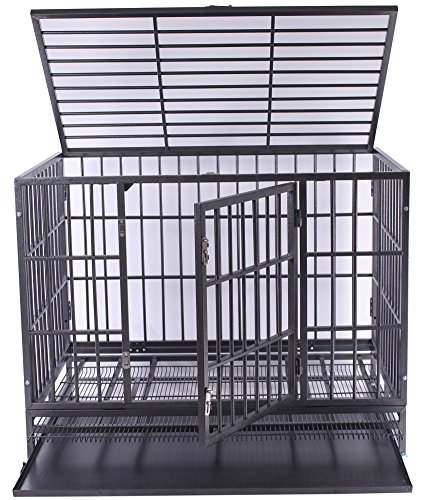 42'' Haige Pet Heavy Duty Large Dog Cage Metal Pet Crate Kenel with Tray and Wheels by Haige Pet