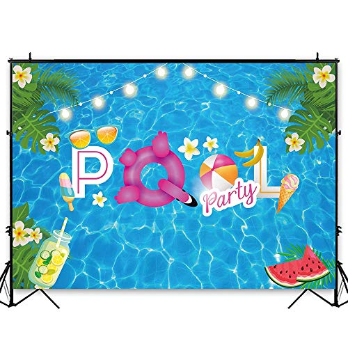 Funnytree 7x5ft Swimming Pool Party Backdrop Summer Water Wave Ripple Baby Shower Birthday Photography Background Tropical Hawaiian Palm Flower Lifebuoy Banner Decoration Cake Table Photo Booth Props -