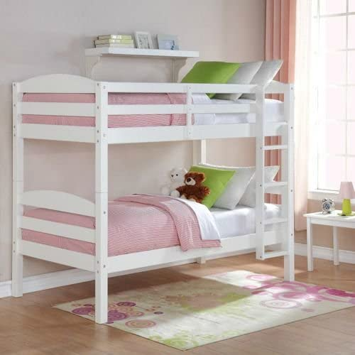 Mainstays Twin Over Twin Wood Bunk Bed White