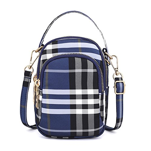Toniker Nylon Plaid Multi-Pockets Small Crossbody Bags Cell Phone Purse Smartphone Wallet for Women Girls with Handy Carry from Toniker
