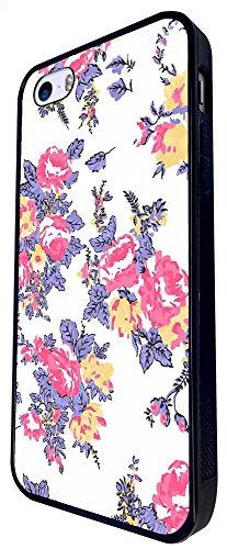 1174 - Floral Shabby Chic Retro Roses Fleurs Design iphone SE - 2016 Coque Fashion Trend Case Coque Protection Cover plastique et métal - Noir