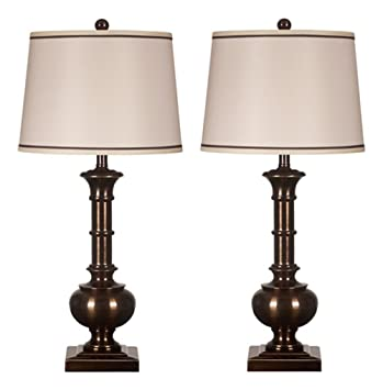 Ashley L207944 Oakleigh Table Lamp In Bronze Finished Metal, Set Of 2