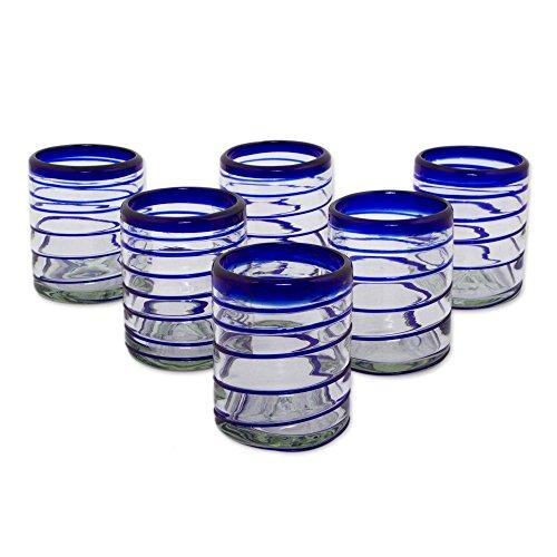 NOVICA 281603 ' 'Cobalt Spiral' Rocks Glasses Set Of 6, 3.9