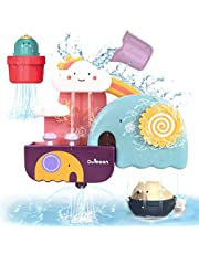 GILOBABY Bath Toys for Toddlers, Baby Bathtub Wall Toy Elephant Waterfall Fill Spin and Flow with Bear and Cactus , Gift for Kids Age 1 2 3 4 5 6 Years Old