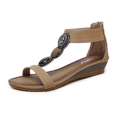 aa6aa35f957f Mobnau Women s Leather Jeweled Zipper Summer Sandles Sandals Beige 36 5.5  D(M) US