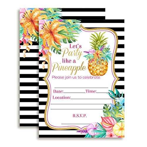 Pineapple Birthday Party Invitations with Tropical Watercolor Flowers, 20 5