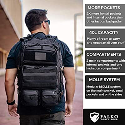 Military Tactical Backpack For Men - Black Bug Out Bag Hydration Ready- 40L Heavy Duty Waterproof Rucksack Molle Military Bag For Daily Use, Gym, Crossfit, Hiking, Traveling, Range, BugOut, Survival