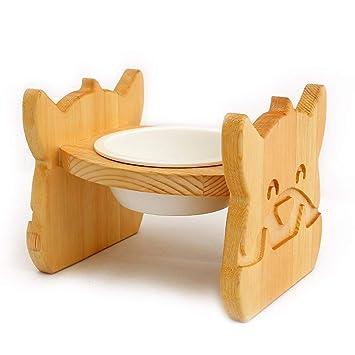 Cat Bowl Pet Madera Maciza Mesa de Comedor tazón de cerámica Comida para Perros Bowl Comida para Gatos Oblicuo Plato de arroz tazón de Fuente Gato ...