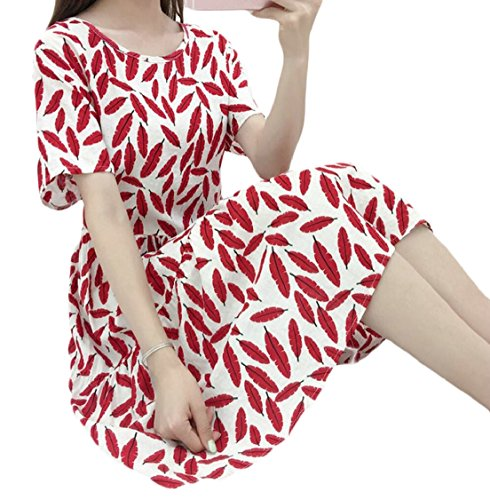 Summer 6 Sleeve Jaycargogo Printed Cotton Loose Short Beach Women Dresses Linen wxgOnPgHq