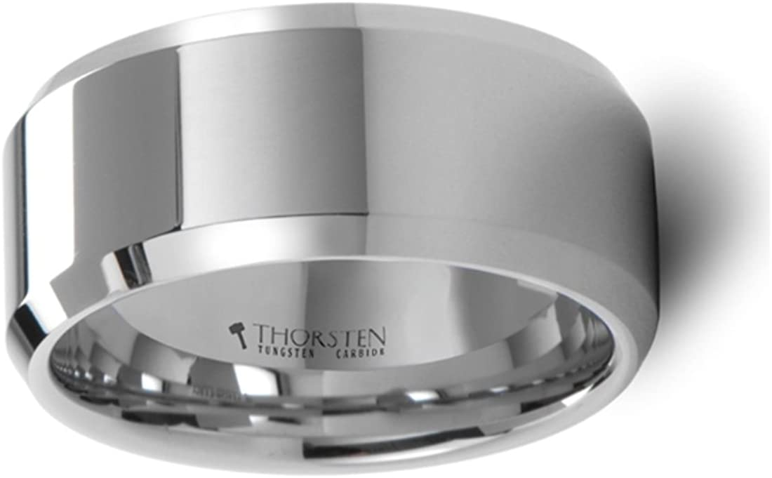 Thorsten Lincoln Beveled Edge Flat White Tungsten Carbide Ring 10mm Wide Wedding Band from Roy Rose Jewelry