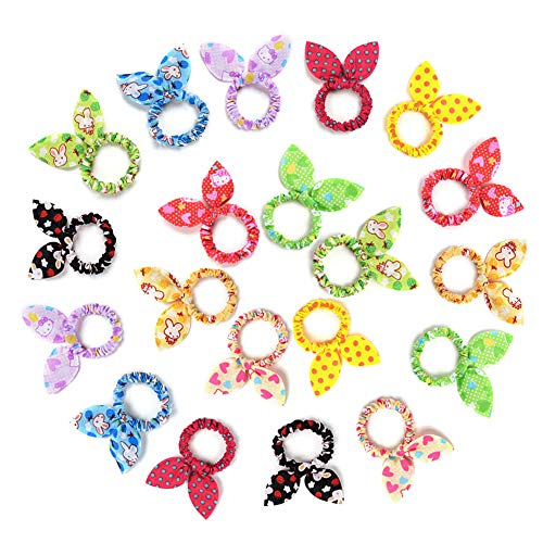 TS 20 PCS Cute Girls Rabbit Ear Hair Tie Bands Ropes Ponytail Holder (20PCS Rabbit Ear)