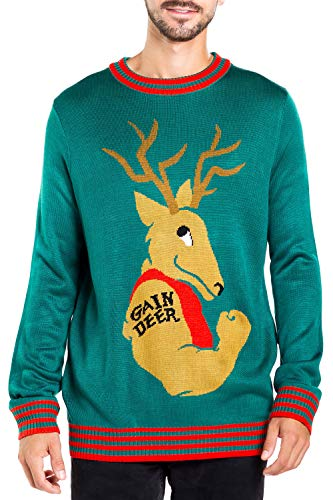 Men's Funny Weightlifting Ugly Christmas Sweater - Gain Deer Funny Xmas Sweater: XX-Large Green