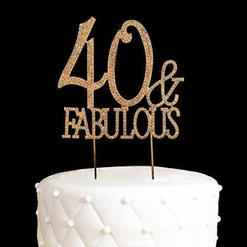 40 & Fabulous Cake Topper 40 Years Birthday Or 40TH Wedding Anniversary Gold Crystal Rhinestone Party Decoration Gold