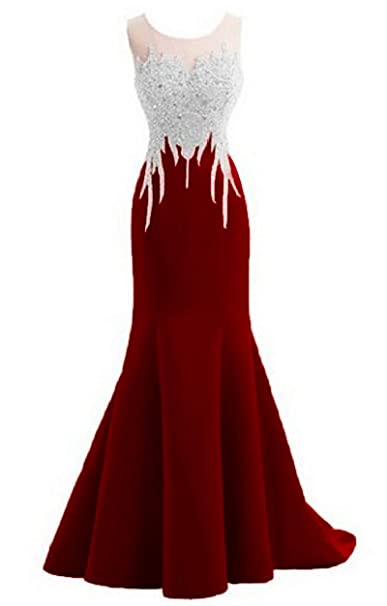 Promworld Mermaid Evening Dress For Women Formal Lace Appliques Long Prom Dress