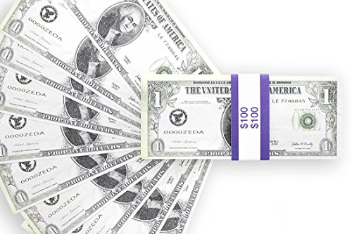 Realistic Double Sided Prop Money - Set of 100 $1 Dollar Bill Total $100 with Blue Currency Strap - Full Print Paper Money for Movie, TV, Videos, Pranks, Advertising & Novelty, 6.25 x 2.5 Inches