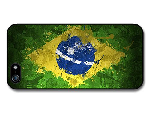Green, Yellow and Blue Brazil Flag, South America and Football coque pour iPhone 5 5S