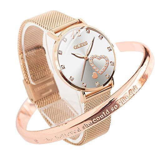 OLEVS Ladies Watches Rose Gold Stainless Steel Mesh Strap Diamond Fashion Dress Japanese Quartz Waterproof Luminous Love…