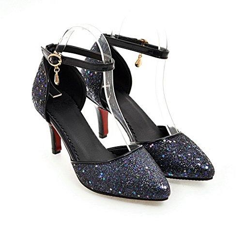 AN Womens Studded Baguette-Style Mini-Size Urethane Sandals DIU00822 Black Eqz7AqLSR