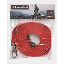 "LupinePet Basics 3/4"" Red 15-foot Extra-Long Training Lead/Leash for Medium and Larger Dogs"