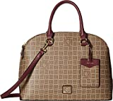 Anne Klein Women's Classic Revival Triple Compartment Logo Dome Satchel Khaki Brown/Oxblood One Size
