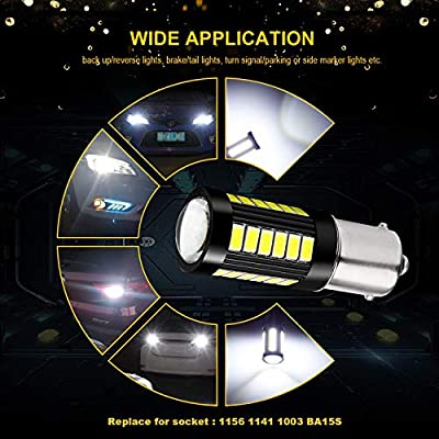 JDM ASTAR Bright White Output 5730 33-SMD 1156 High Power Super Bright 360 Beam Led Light Bulbs With Projector For Backup Reverse Light: Automotive